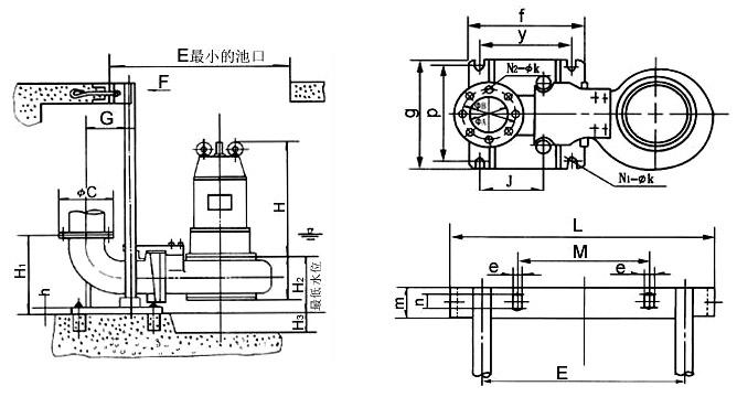 WQ型无堵塞潜水排污泵安装尺寸图